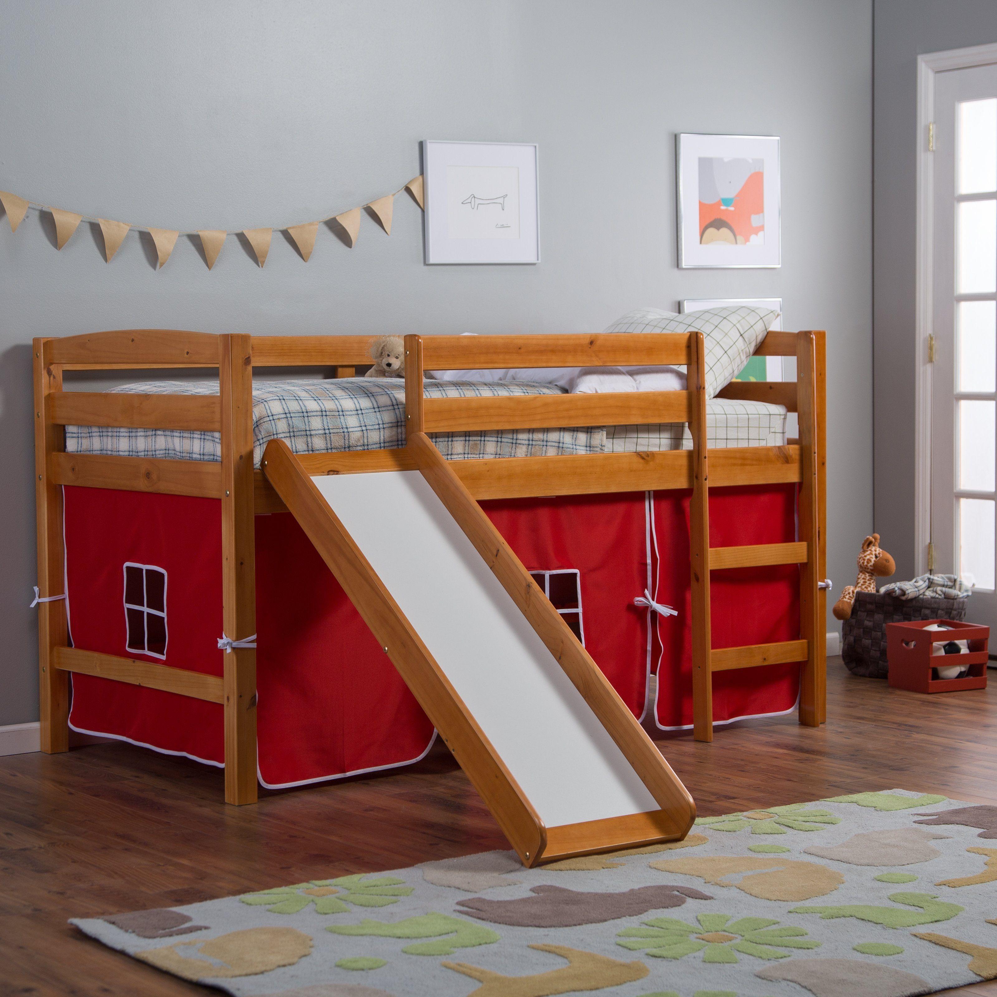 Best Pine Ridge Tent Twin Loft Bed With Slide Honey Twin Loft Bed Bed With Slide Cool Beds For 640 x 480