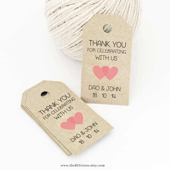 Wedding Gift Tags Template : Favor Tag Template, Printable SMALL Double Heart Design, Wedding Tag ...