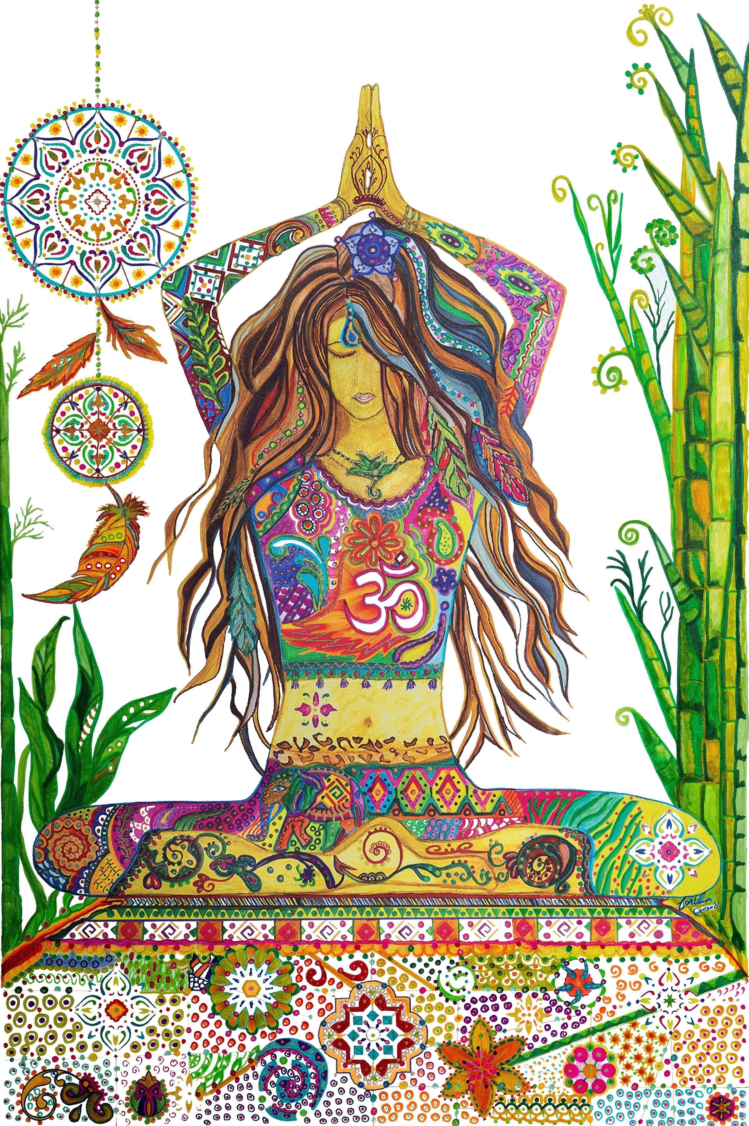 Yoga Goddess Pose Semi Original Abstract Art Painting Rolled Etsy Original Abstract Art Painting Bohemian Painting Original Abstract Art