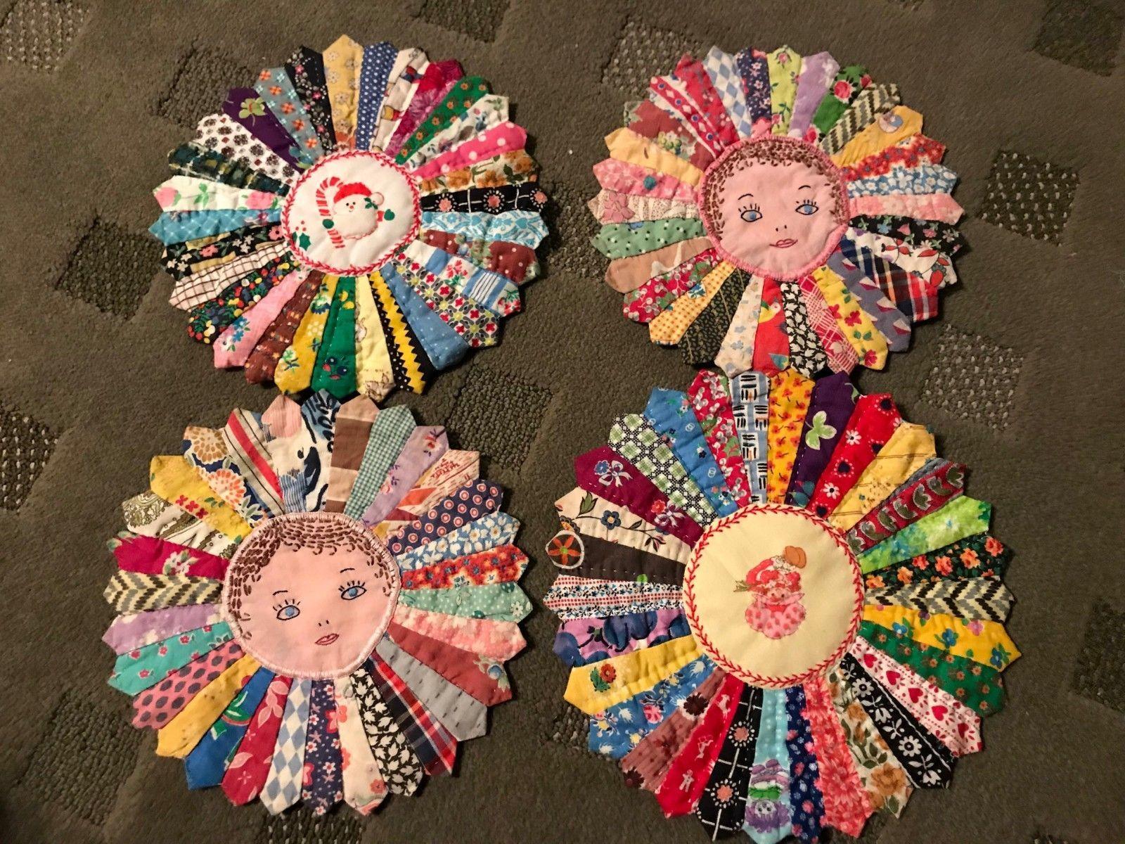 4 Vintage Hand Stitched Quilt Fan Potholders Pot Holders Hand