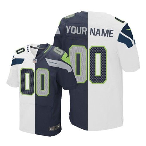 mens nike seattle seahawks customized elite team road two tone nfl jersey http