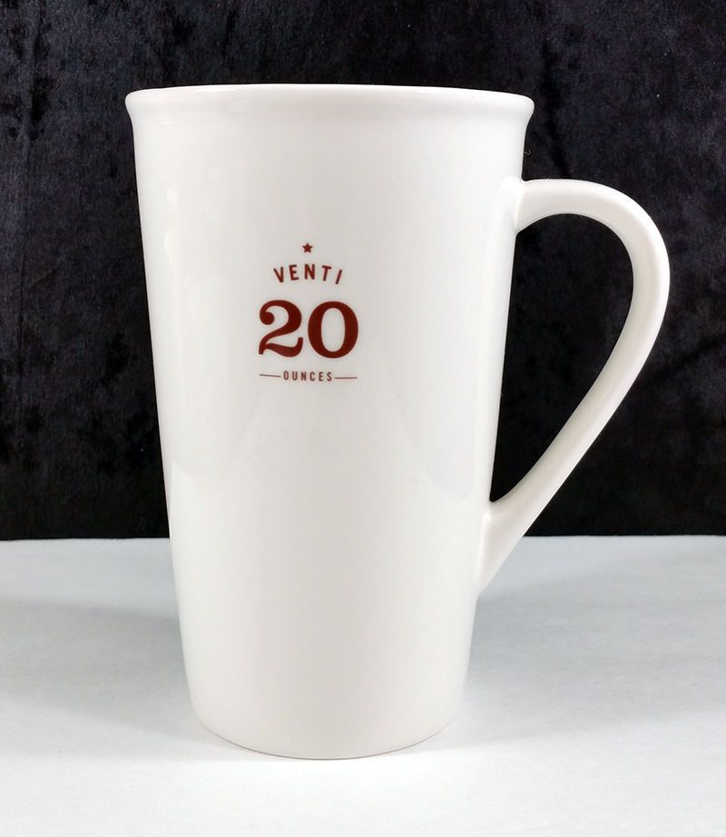Starbucks Venti 20 Ounces Tall White Ceramic Coffee Cup Mug Genuine
