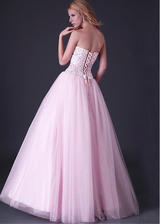 Chic Tulle & Satin Sweetheart Neckline Floor-length A-line Prom Dress