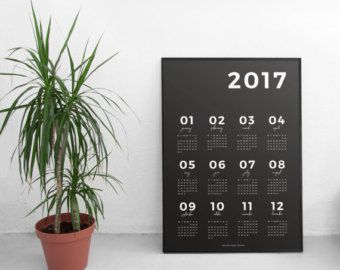 2017 Wall Calendar Grey | 2017 Calendar Printable Calendar 2017 Planner Wall Calendar 2017 Wall Art Wall Decor Calendar Art Digital January Made ... & 2017 Wall Calendar Grey | 2017 Calendar Printable Calendar 2017 ...