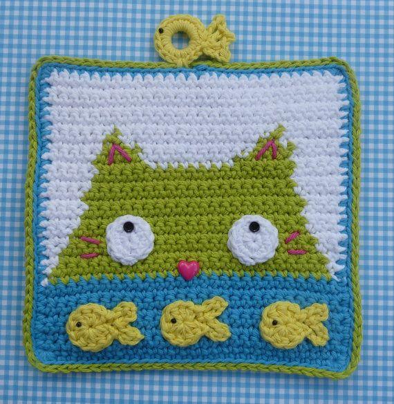 Dinnertime Potholder Crochet PATTERN - INSTANT DOWNLOAD | Topflappen ...
