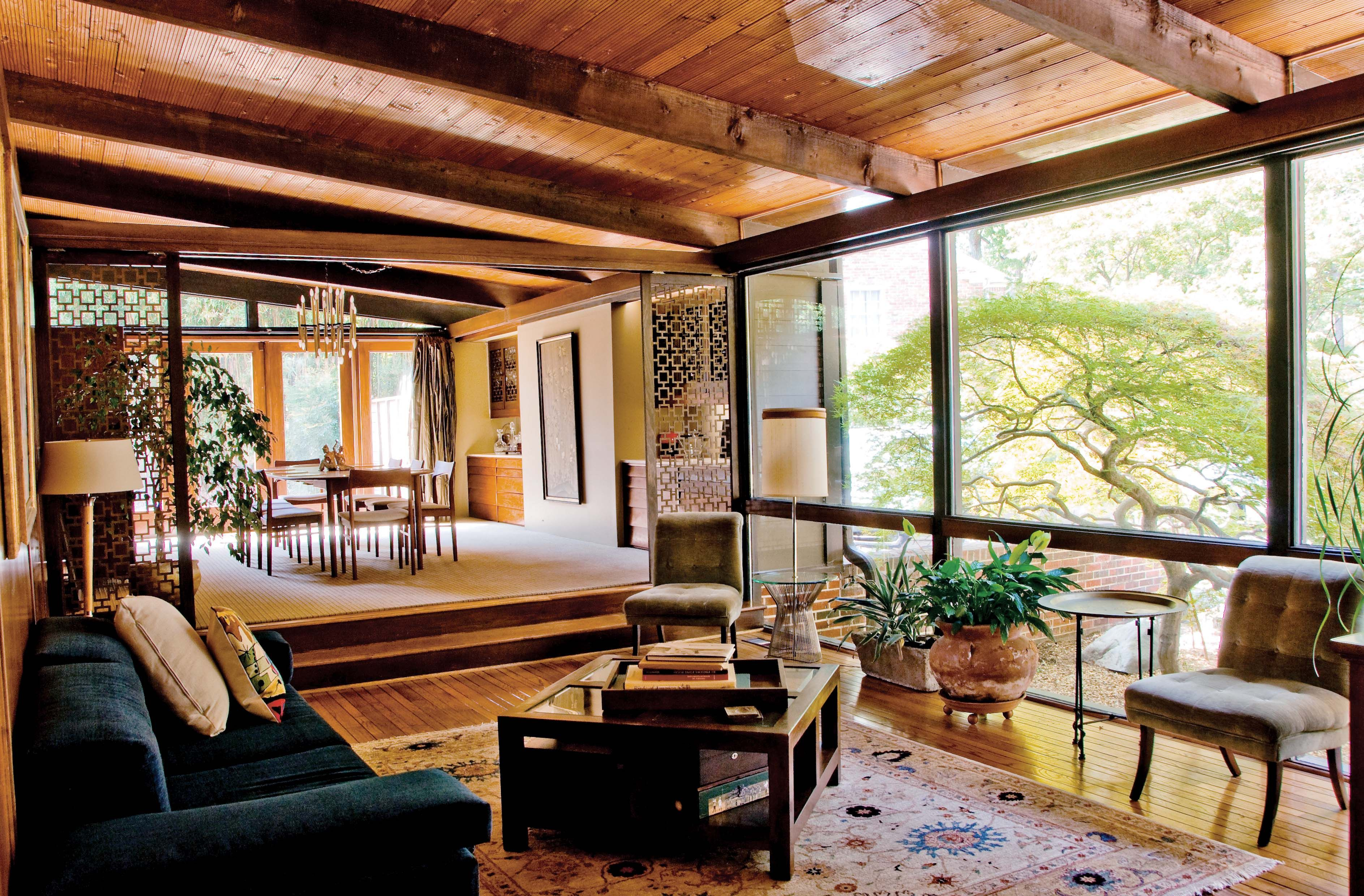wood and glass mid century modern interiors images - google search
