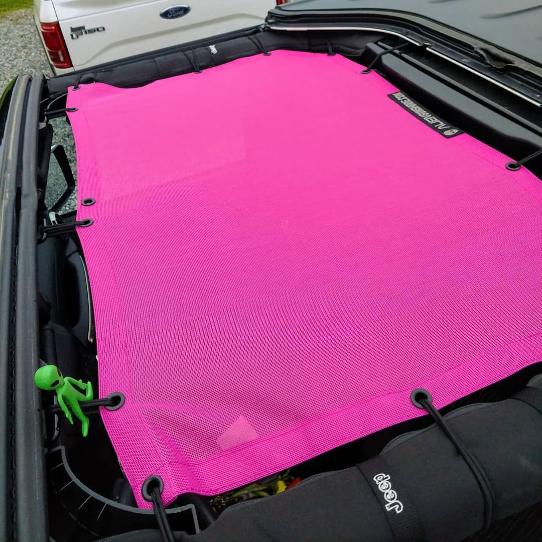 Pink Power Front Sunshade Mesh Top For The Jeep Wrangler Jk And Jku Keep Your Shade Installed Even When You Need To Att Jeep Wrangler Jeep Jeep Wrangler Jk