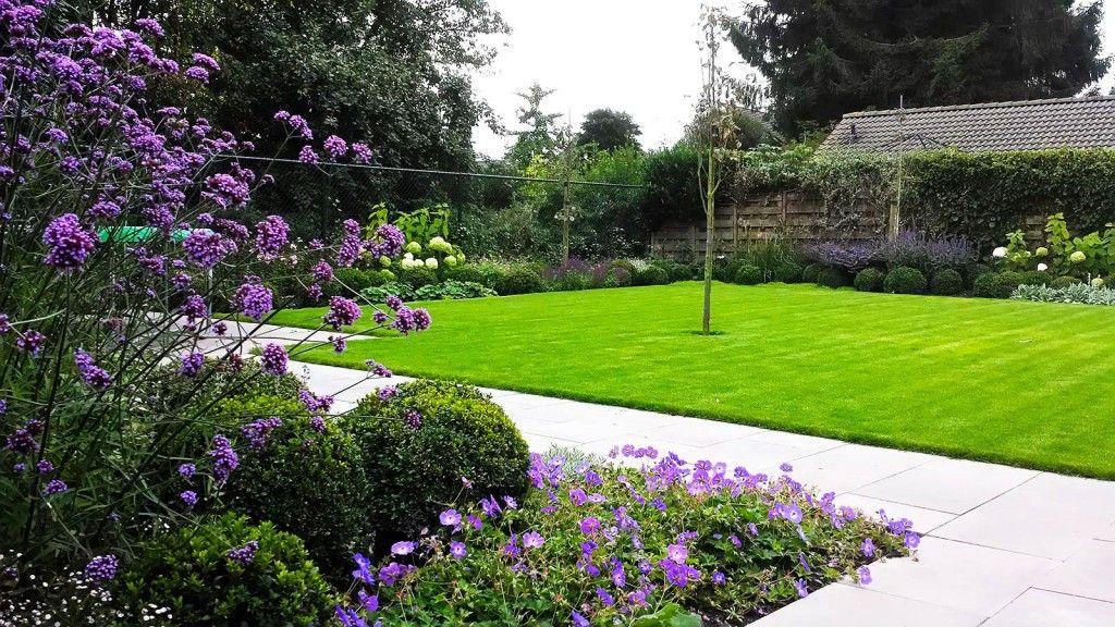 Kleurrijke achtertuin van buxus bollen en vaste planten for Zwembad achtertuin
