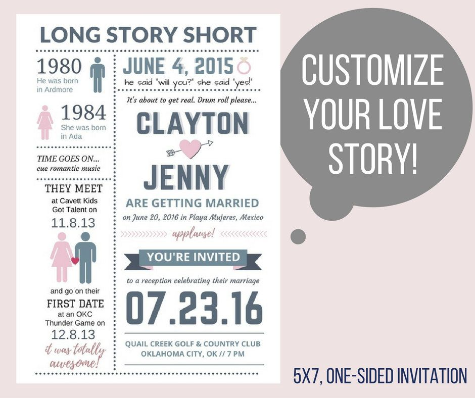 printable wedding invitation    our love story    custom