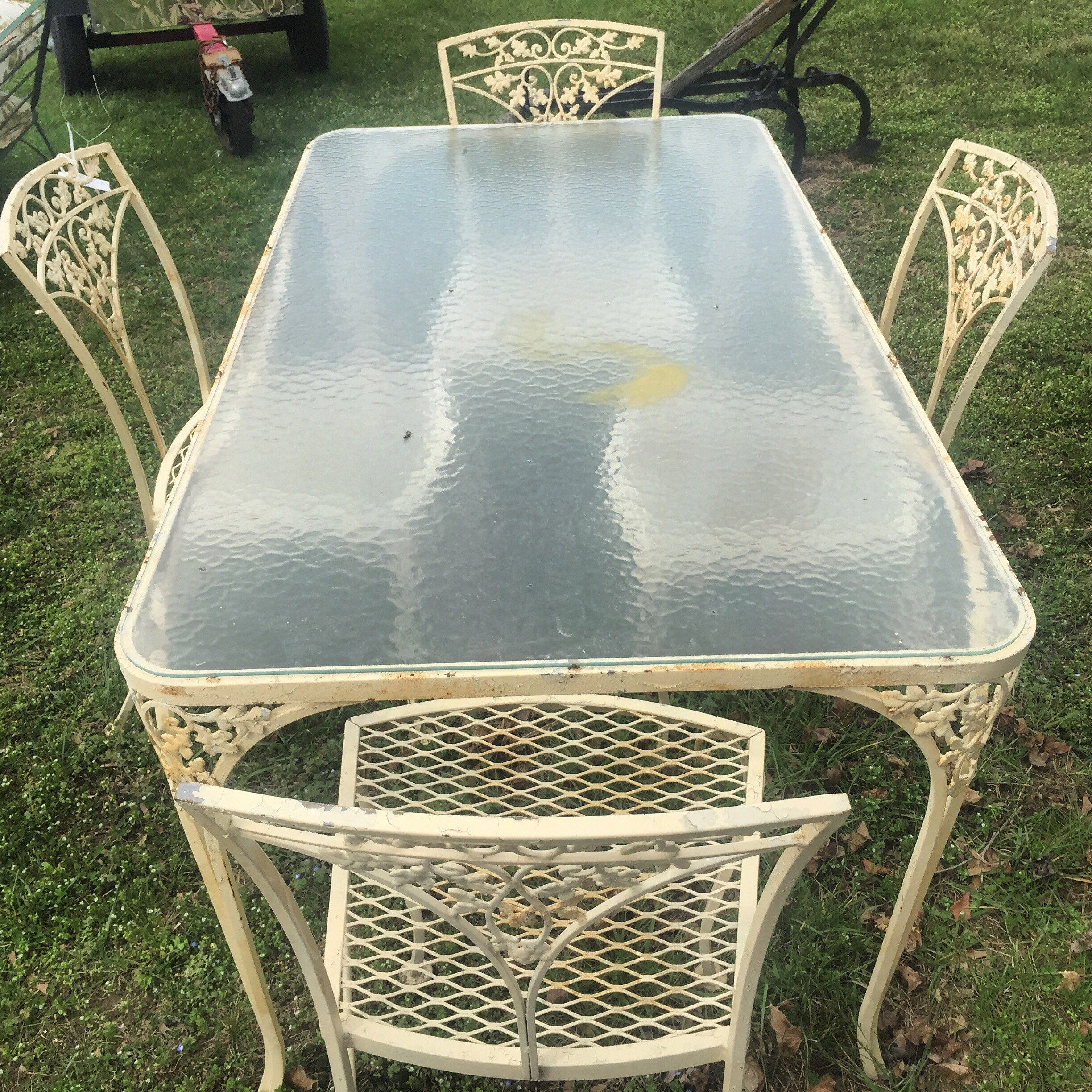 Woodard Orleans Wrought Iron Dining Table And 4 Chairs Orleans
