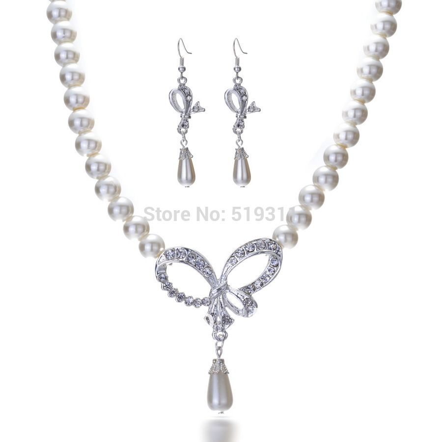 Best Gifts!!! Fashion Clear Elegant Plating silver Imitation Pearl Strand Earrings and Necklace Wedding Jewelry Set