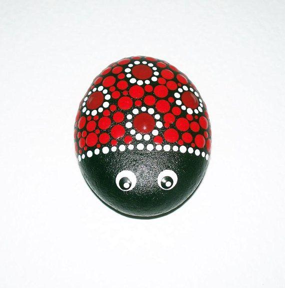 Ladybird ladybug hand painted pebble stone by CornishMaidPebbles