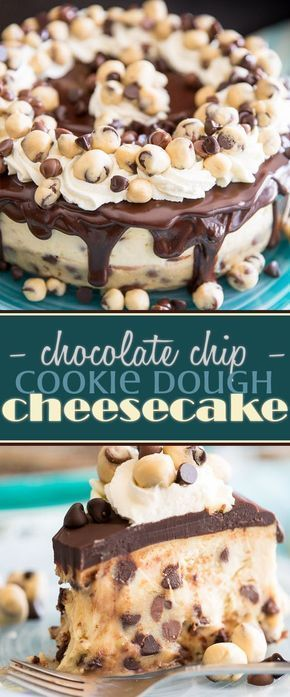 Chocolate Chip Cookie Dough Cheesecake - Chocolate Chip - Ideas of Chocolate Chip #ChocolateChip - Welcome to your new addiction: two of the most delightful treats in the whole wide world are rolled into one in this Chocolate Chip Cookie Dough Cheesecake. #cheesecake