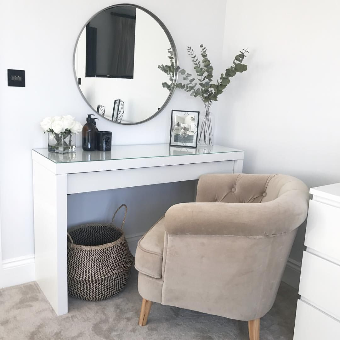 Dressing table with mirror ikea malm dressing table round mirror scandi nordic hygge dressing