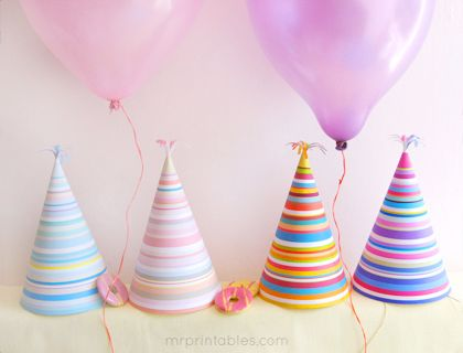 Free Printables : Stripy Party Hats in Vivid Orange & Purple or Pastel Pink & Blue (available in Ltr or A4) at Mr Printable