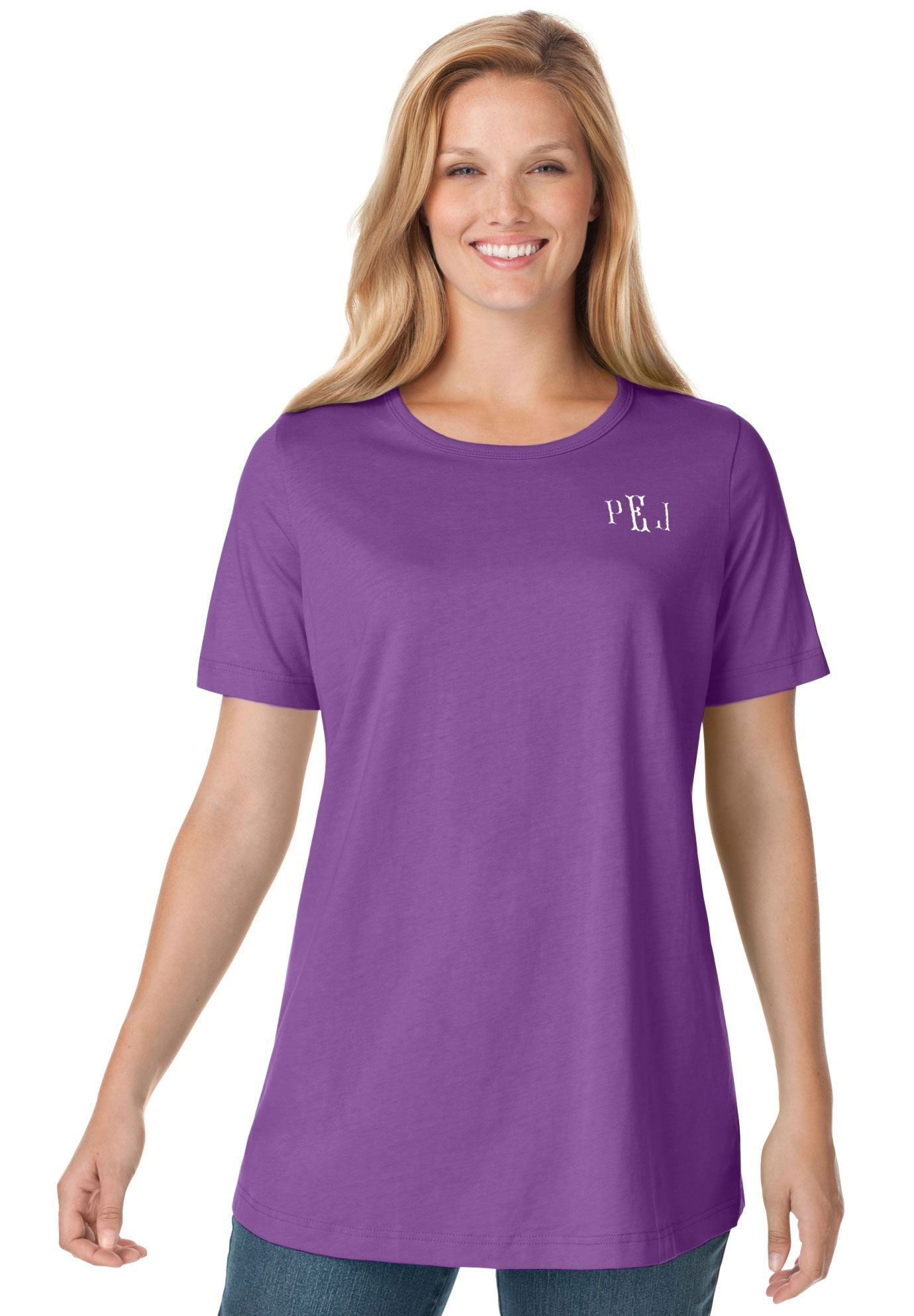 041310a541c9c Perfect crewneck tee in soft cotton knit with monogram - Women s Plus Size  Clothing