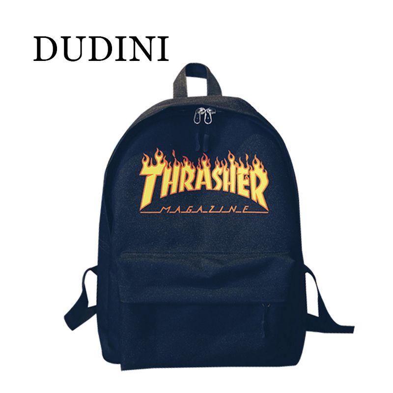 d717d9f7db17 Backpacks DUDINI Unisex Backpack American Skateboard Oxford Backpack  Thrasher Shoulders Bag Fashion Style Men Backpack Mochila    Ceci est une  broche ...