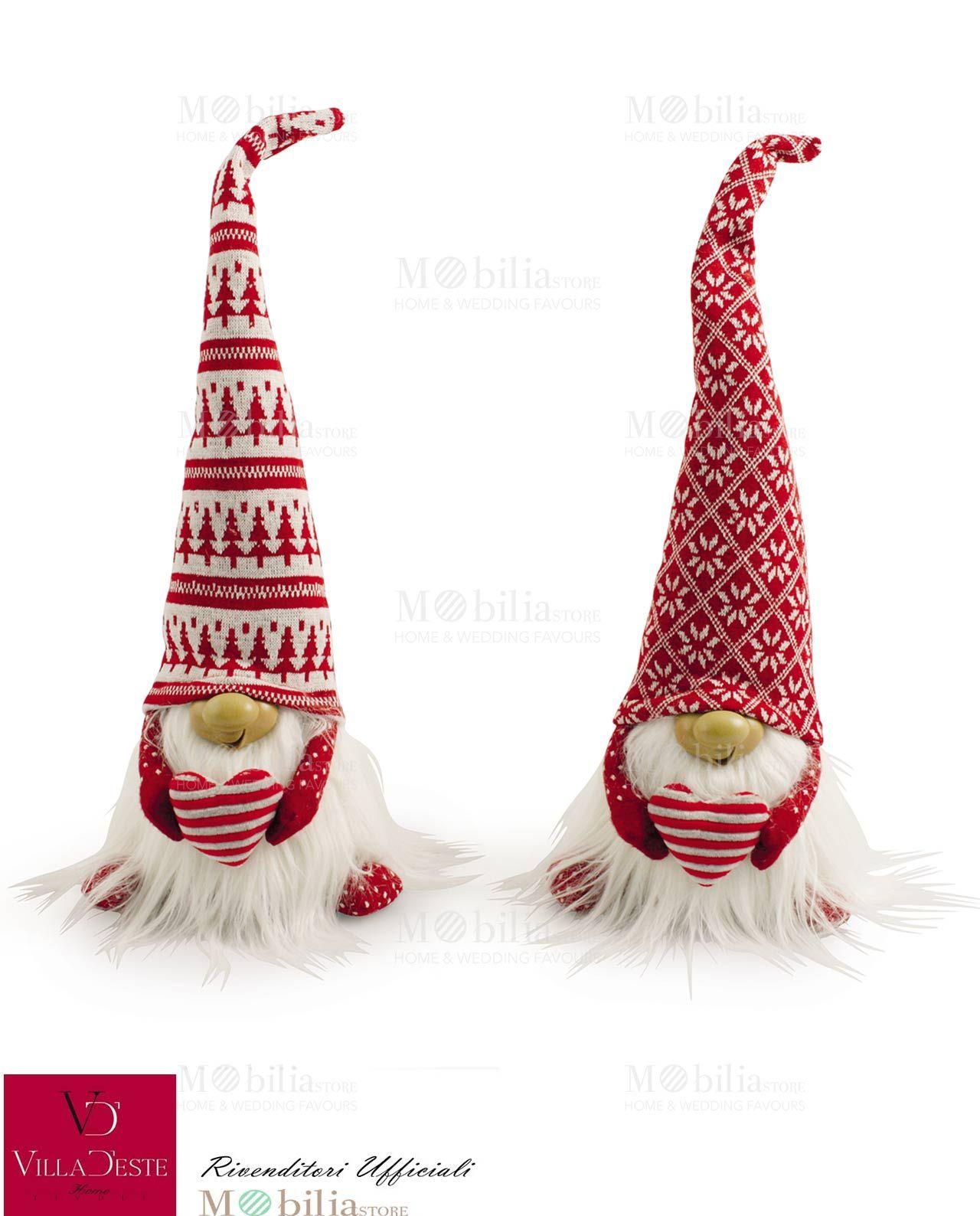 Gnomo di Babbo Natale di Stoffa Villa d Este con cappello lungo ... 9d72190942ec