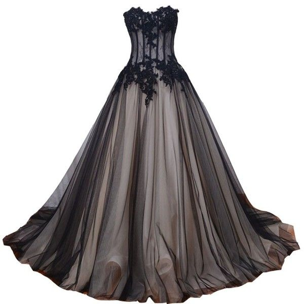 ecad80d5f6 Amazon.com  Kivary Sweetheart Long Black and Champagne Lace Tulle... ( 180)  ❤ liked on Polyvore featuring dresses