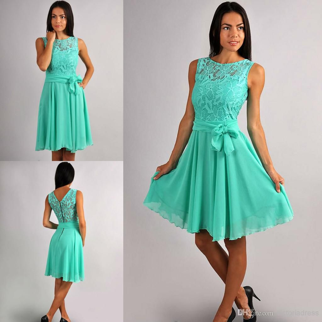 Cheap A Line Lace And Chiffon Aqua Green Bridesmaid Dresses With ...
