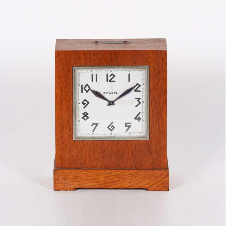 1940u0027s Zenith Table Clock In Oak Wood With A Secret Drawer. Inscription  Helvetia   Vie