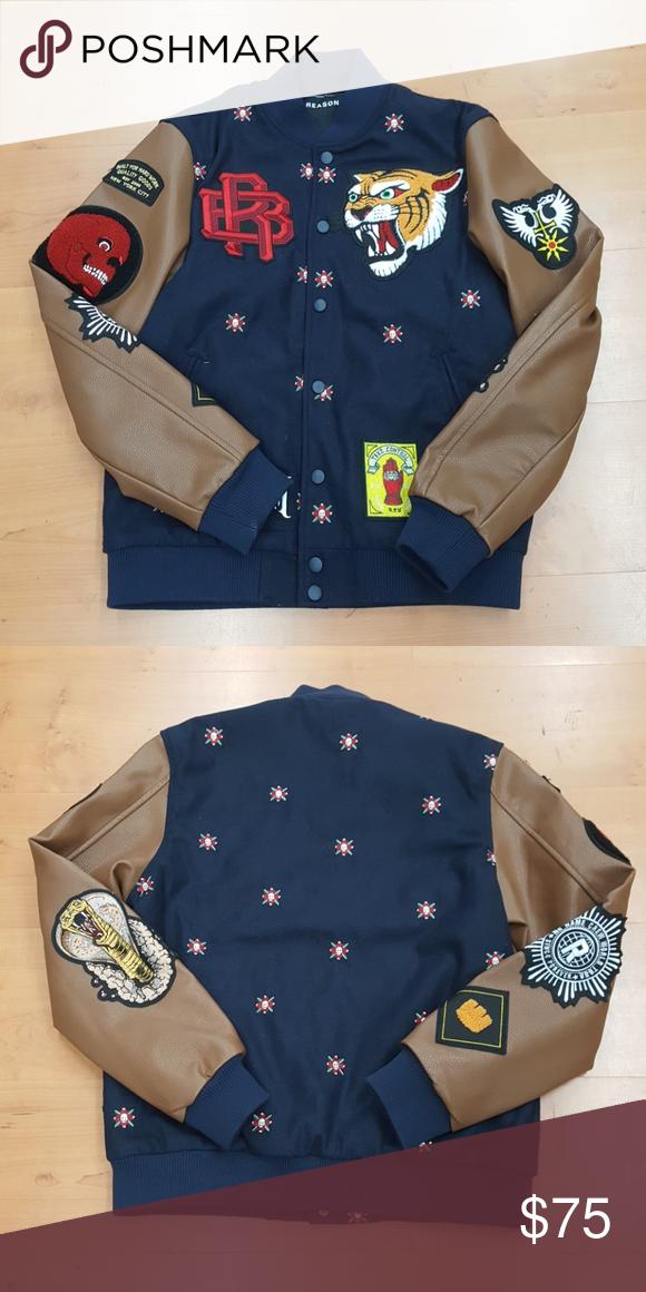 NEW Reason varsity jacket Brand new varsity jacket brand new with a lot of embroidery reason Jackets & Coats Bomber & Varsity #varsityjacketoutfit