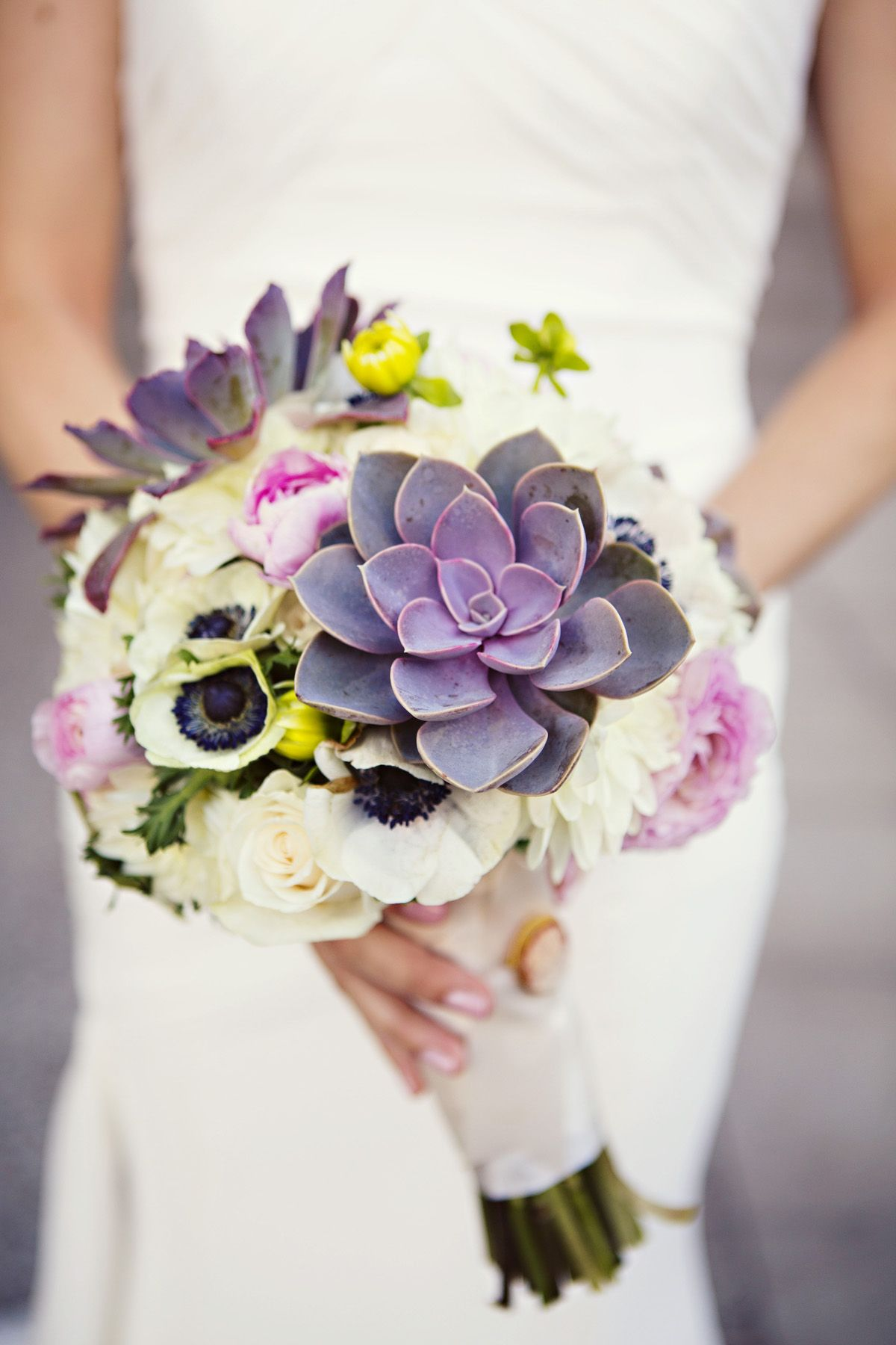 Kate & Company  Wedding Arizona, Jane Z Photography - Bridal #Bouquet in black and white #Anemone and #Succulent by Butterfly Petals
