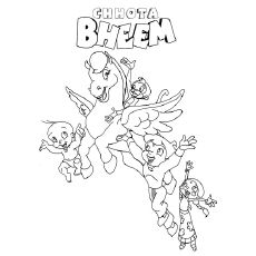 bheem with the flying horse flying horsecoloring pagestoddlers - Horse Coloring Pages Toddlers