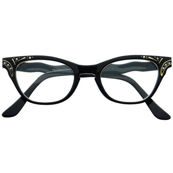 Reading Style Clear Lens Retro Vintage Cat Eye Glasses Frames c54 ($9.95) ❤ liked on Polyvore featuring accessories, eyewear, eyeglasses, cateye eyeglasses, retro eyeglasses, cat-eye glasses, black eyeglasses and clear eyeglasses