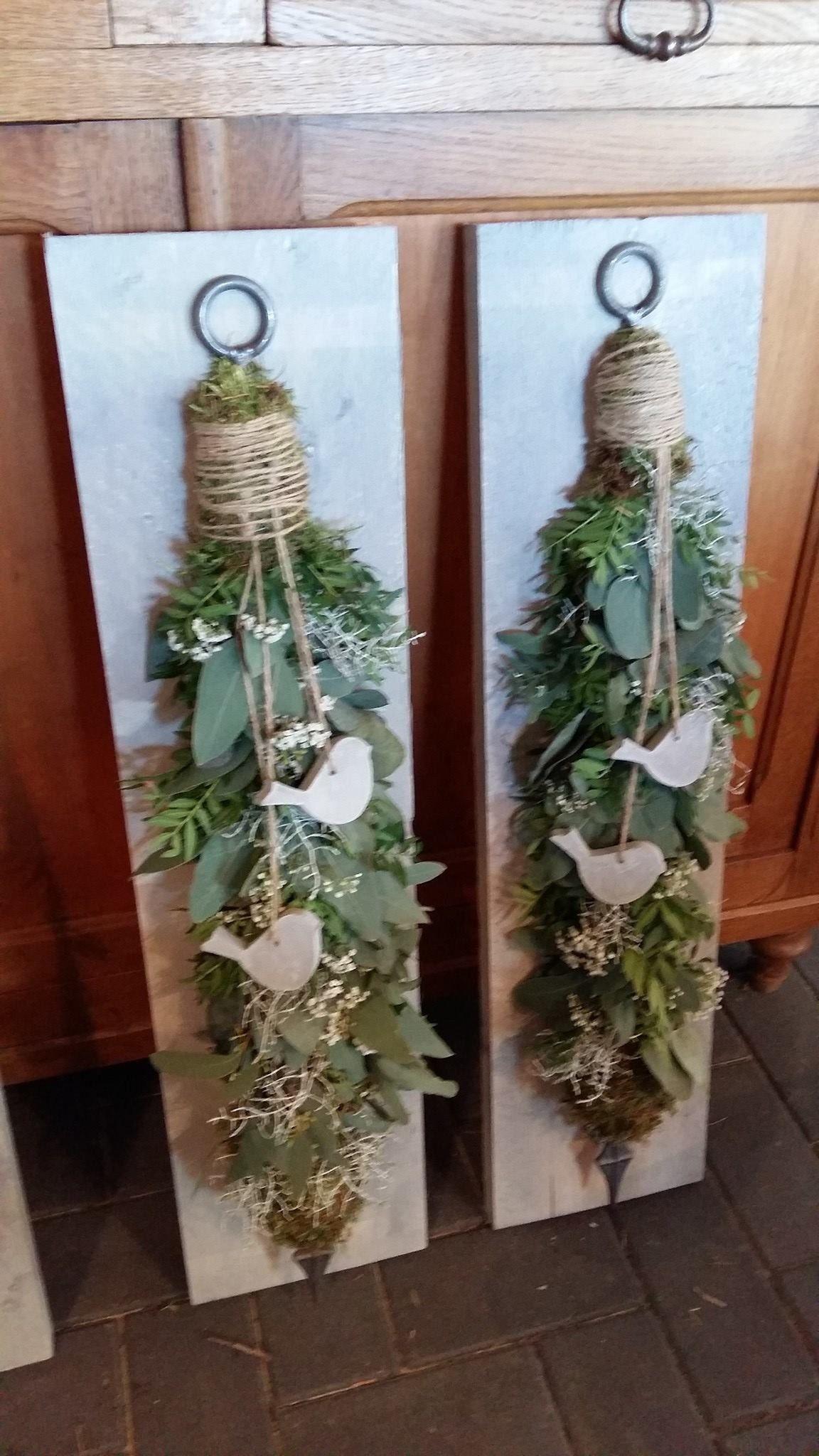 European door hangers kerst pinterest no l guirlandes et deco noel - Deco massief buiten ...