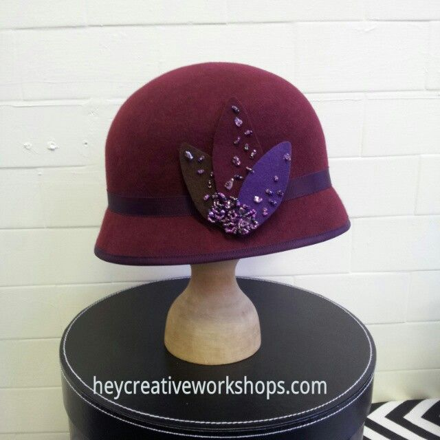 Felt Cloche hand blocked with a hand made trim. Other colours available