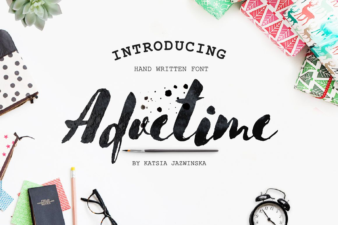 Advetime Brush Script By Katsia Jazwinska On Creativemarket Brush Font Lettering Brush Lettering