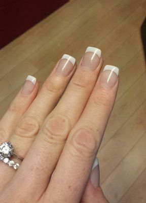 american manicure over regular clear acrylicnikki