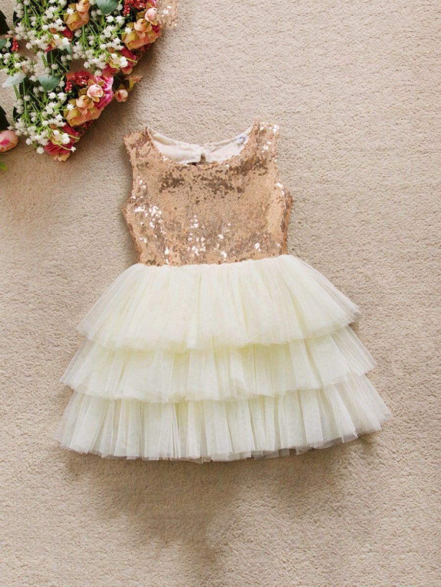8449588a40e6d Toddler Girls Contrast Sequin Bow Ball Gown Dress -SheIn(Sheinside ...