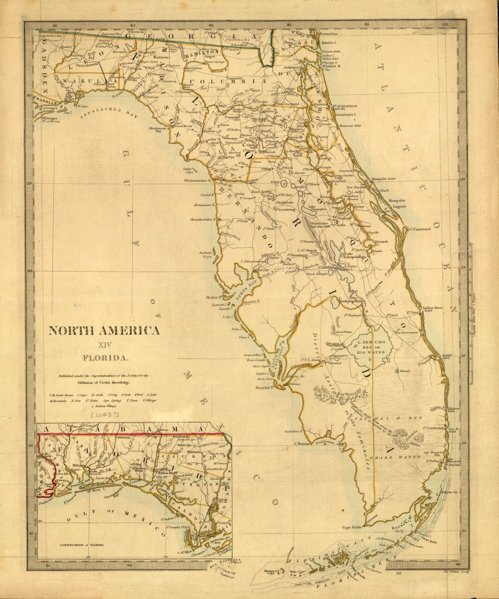 Tanner\'s map of Florida from 1833. | Florida Memory in 2019 ...