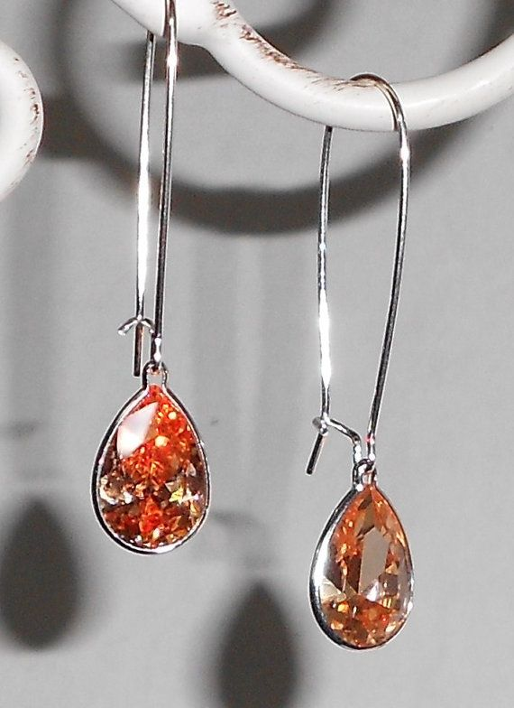 14x9mm Champaign Cubic Zirconia Sterling Silver Dangle Earrings, $27. SOLD 6/11/2011.