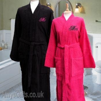 Mr And Mrs Bathrobes Embroidered Bath Robes Batas De Bano Batas Pijamas