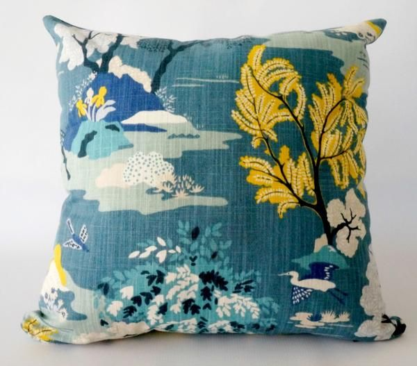 Teal Asian Pillow Cover With Chinoiserie Design Trendy Home Decor Inspiration Asian Pillow Covers