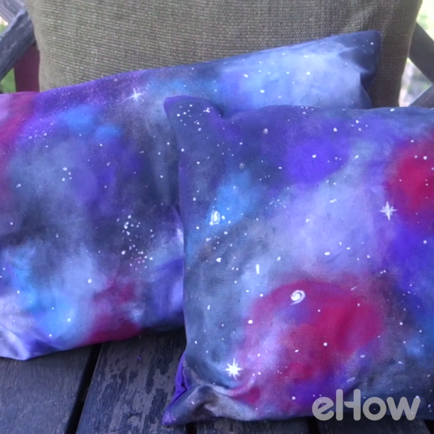 How to paint a galaxy design on cushion covers plain for Pastel galaxy fabric