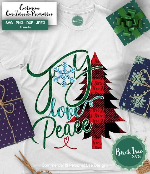 Download Joy Love Peace Svg Buffalo Plaid Christmas Tree Svg ...