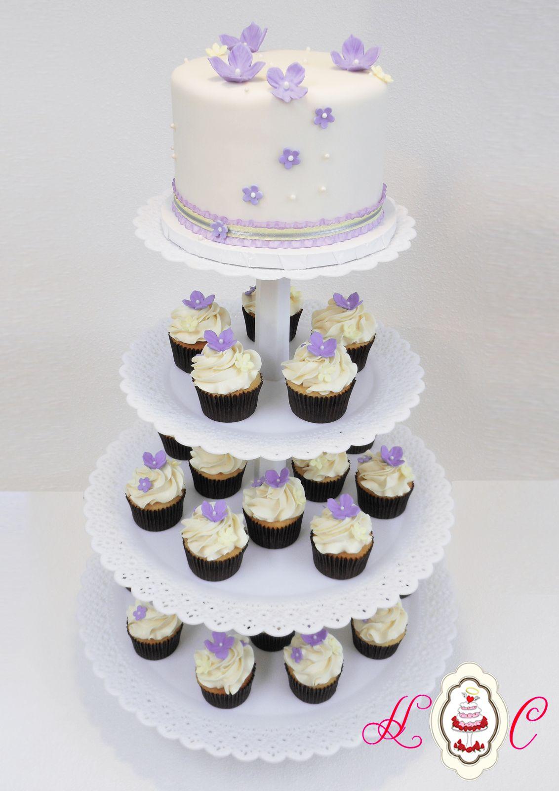 Lilac, Grey & Pale Yellow Wedding Cupcake Tower 1200.jpg (1132 ...