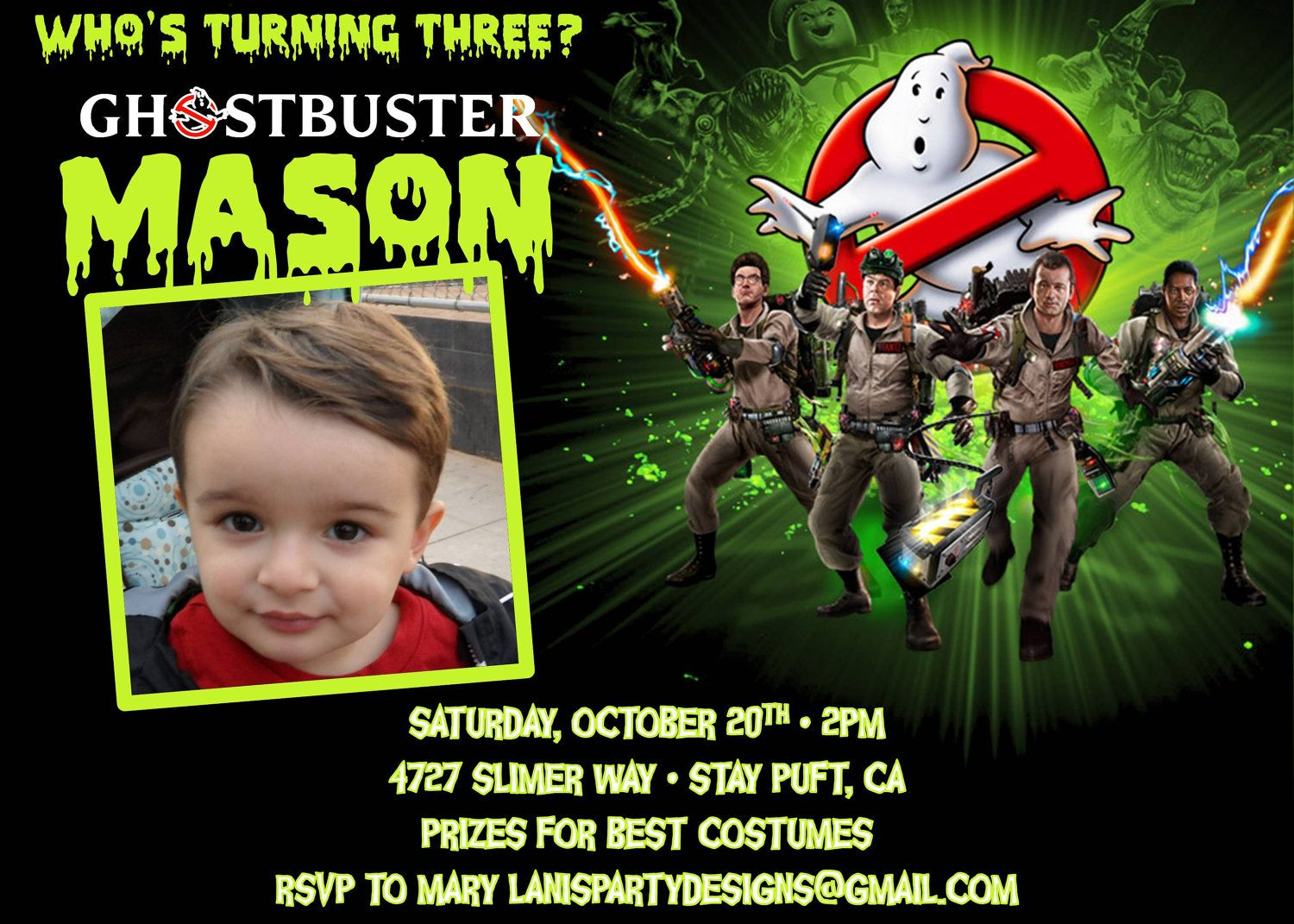 Ghostbusters Invitation Birthday Halloween Costume Party Photo