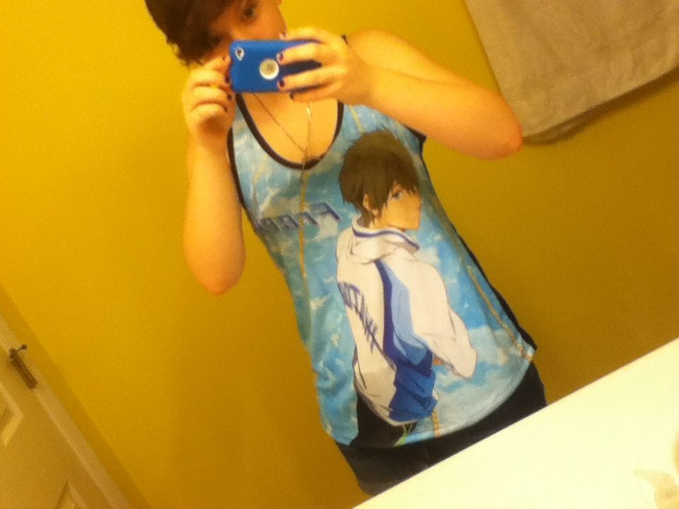 Free! Makoto shirt- 25$ at Hot Topic. I swear if they get Rei, imma flip out.