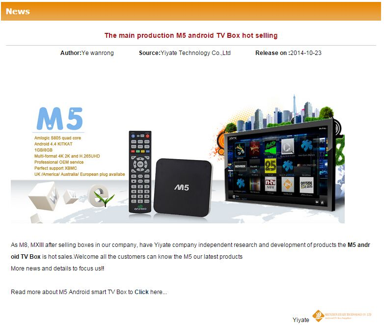 Main production provided in hot selling!!!!! http://www.yiyate.net/news/The-main-production-M5-android-TV-Box-hot-selling.html