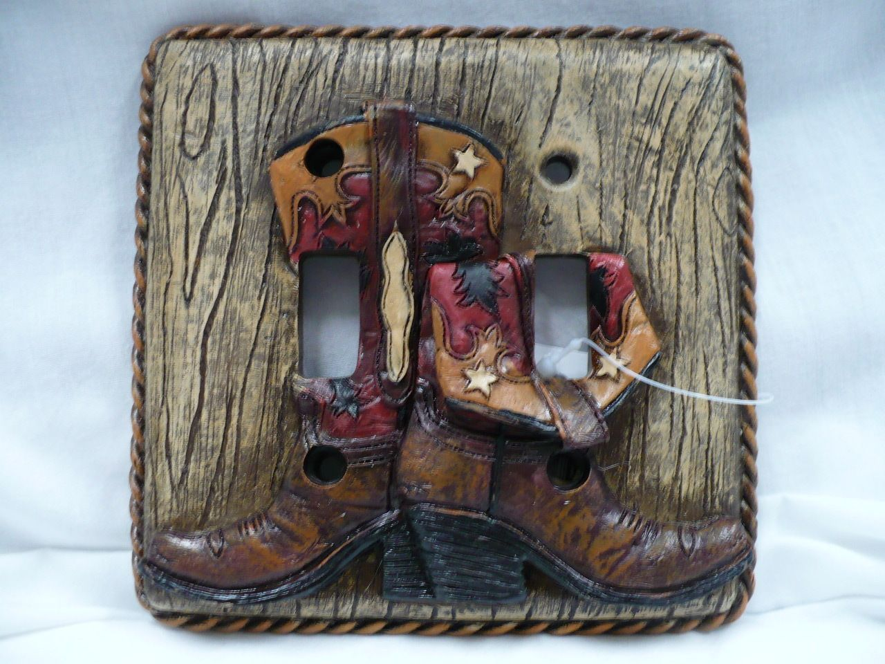 Western Decor Cowboy Boots Double Light Switch Plate Covers