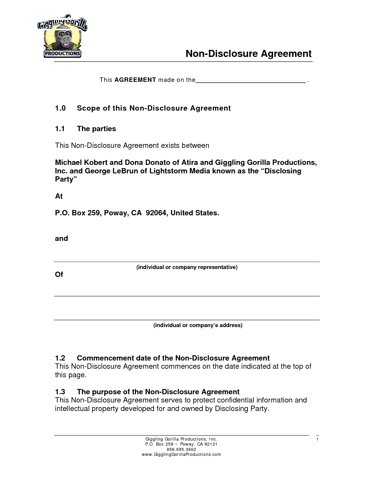 Sample non disclosure agreement template invitation for Cda agreement template
