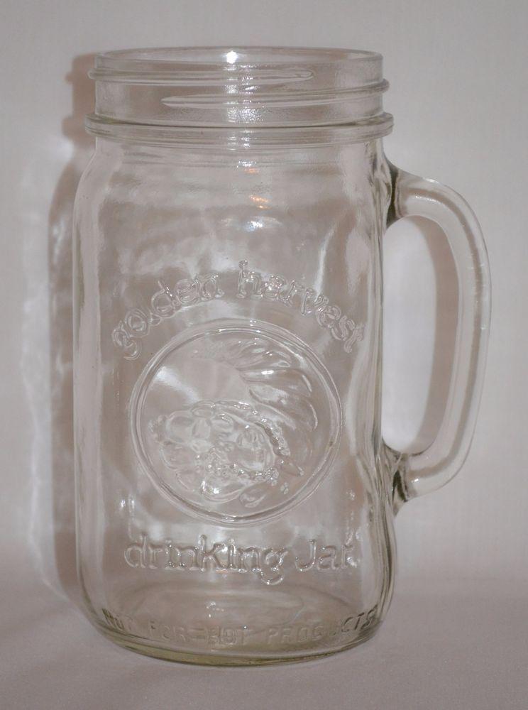 Vintage Widemouth Anchor Hocking Golden Harvest Drinking Mason Jar 32 oz.  #AnchorHocking