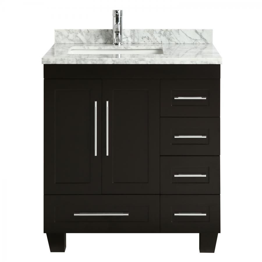 Eviva Loon 30 Long Handles Acclaim Edition Transitional Espresso Bathroom Vanity With White Carrera Marble Counter Top Bathroom Vanity Vanity Countertops