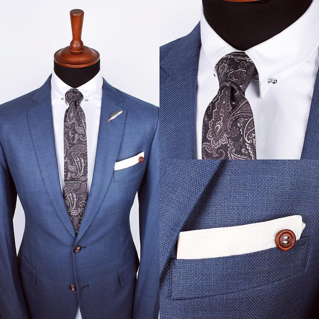 """""""The Grayscale paisley tie, Silver feather lapel pin and White edge ps over the Herringbone white collar-bar shirt   www.Grandfrank.com"""""""