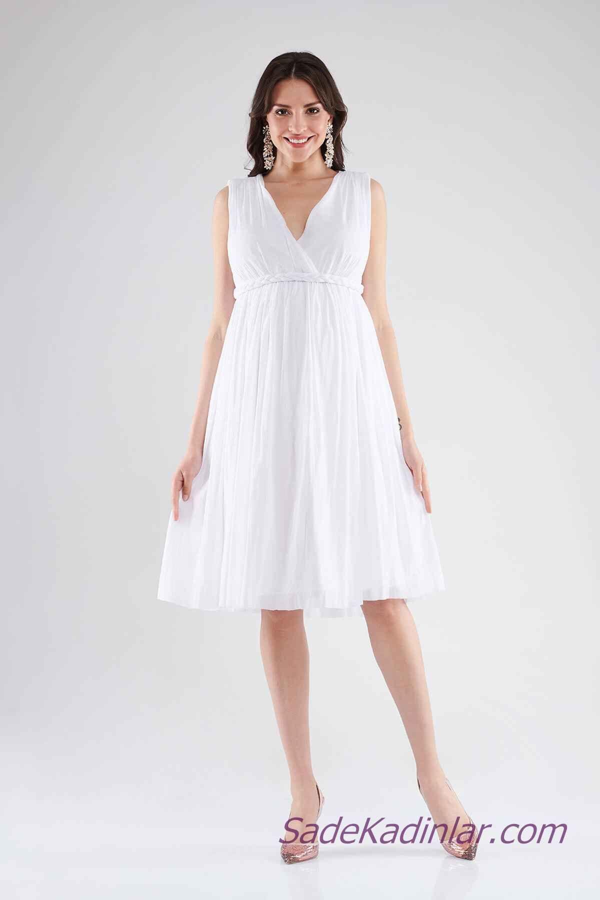 93f725a65e08e Hamile Abiye Elbise Modelleri Beyaz Dizboyu Kolsuz V Yakalı Belden Örgü  Kumaş Kemerli